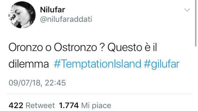 temptation_tweet_nilufar_contro_oronzo