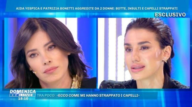 Patti Bonetti e Aida Yespica a Domenica Live: le dichiarazioni sull'aggressione