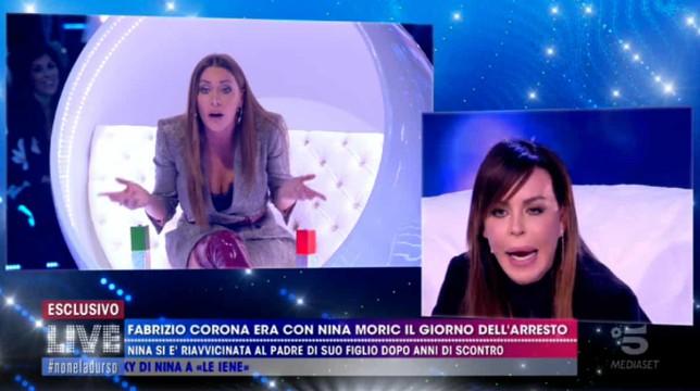 Live – Non è la D'Urso: volano parole pesanti tra Nina Moric e Karina Cascella